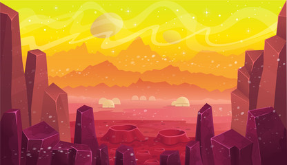 Fantasy space station on mars, vector cartoon landscape. Background for games and mobile applications.
