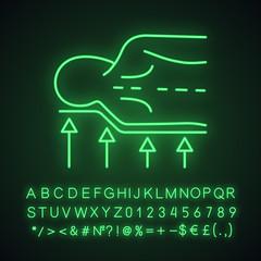 Orthopedic mattress neon light icon