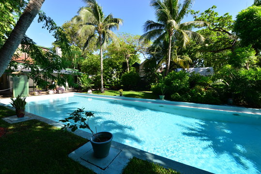 A swimming pool at an old home at key West in Florida.