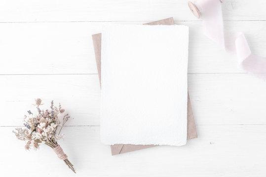Feminine wedding, birthday desktop mock-up. Invitation card mockup, template Flat lay, top view. Minimal, clean modern
