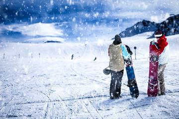 Keuken foto achterwand Wintersporten Winter time in Alps and snow decoration.