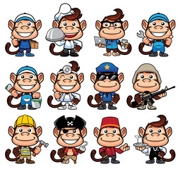 Cartoon monkey in 12 poses for different occupations and isolated on white background.