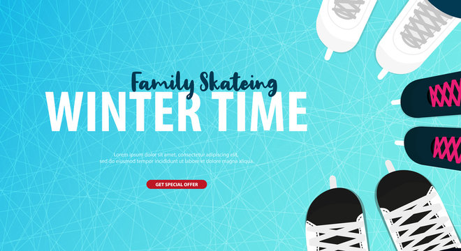 Banner with Ice skates. Figure skating. Texture of ice surface. Winter sports. Vector illustration background.