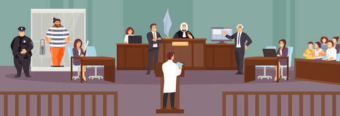 Court hearing vector