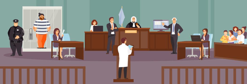 Court hearing vector