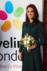 Britain's Catherine the Duchess of Cambridge visits Evelina London Children's Hospital, in London