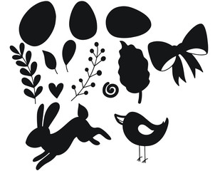 Easter set of decorative silhouette illustration on white background. Happy Easter template with eggs leaves rabbit and chick. Vector illustration