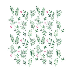 Green forest plants and wild berries pattern