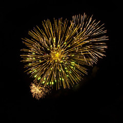 Beautiful Yellow fireworks isolated on black background