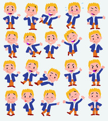 Cartoon character businessman in casual style. Set with different postures, attitudes and poses, always in positive attitude, doing different activities in vector vector illustrations.