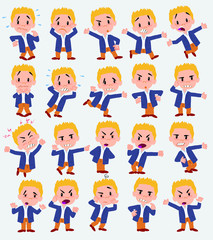 Cartoon character businessman in casual style. Set with different postures, attitudes and poses, always in negative attitude, doing different activities in vector vector illustrations.