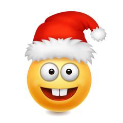 Cute Santa Claus smile emoji icon emoticon