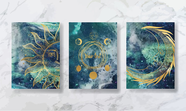 texture of liquid marble and yellow gold. constellations of animals and zodiac horoscope. trend vector. printable business card, flyer, brochure, flyer, poster