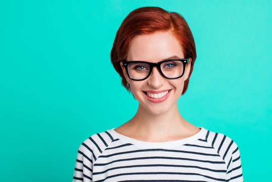 Closeup studio picture portrait of clever pretty charming nice cheerful excited with teeth toothy smile she her people looking at camera isolated bright color teal background copy space