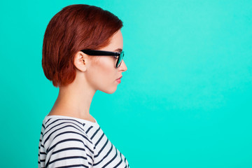 Closeup half turned picture photo image of pondering pensive in specs attractive pretty confident with straight hairdo she her lady isolated on vivid vibrant background copy space