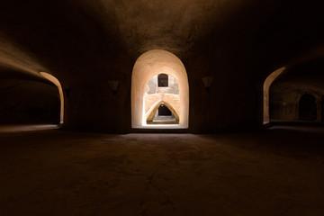 Underground level of the circular Sumur Gumuling mosque in Taman Sari palace complex, Yogyakarta, Indonesia.