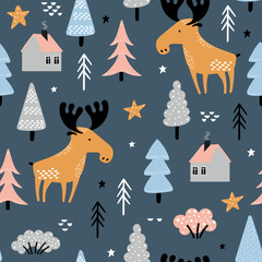 Seamless pattern with moose in forest