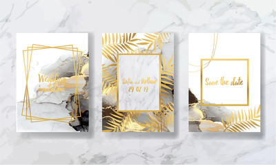 wedding invitation. a great celebration of lovers. texture of liquid marble and gold. print for leaflets, banners, flyers, business cards, cards. trend vector