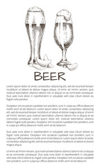 Two Beer Glasses with Chips Sketch Style Poster