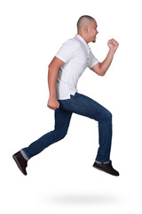 Levitation. Funny attractive young Asian man jumping in the air dancing walking