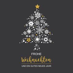 Weihnachtsbaum mit Weihnachtsdeko Vektor Illustration schwarzer Hintergrund