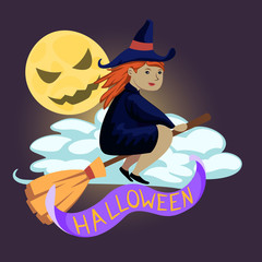 Halloween flying witch and moon. Vector design for prints, tshirts, party posters and banners.
