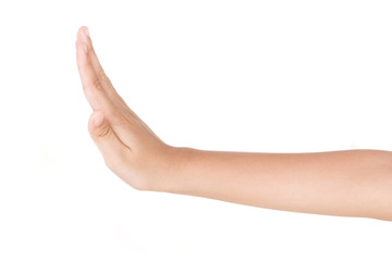 Boy caucasian hand gestures isolated over the white background.