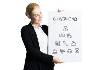 junge Geschäftfrau hält Schild mit E-Learning Komponenten vor weißem Hintergrund