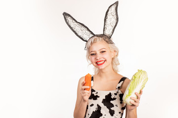 Healthy and vegeterian food. Happy girl with natural healthy food. Vegan lifestyle. Smiling young woman enjoys fresh vegetable. Healthy diet and proper nutrition.