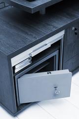 metal safe in modern office