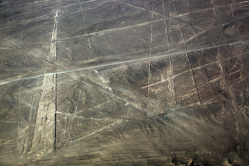view from plane on lines plateau Nazca