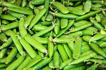 green peas pods on retail display