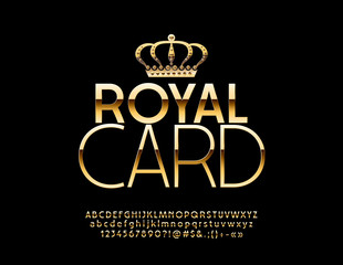 Vector chic Logotype Gold Card with Golden Crown. Elite stylish Font. Luxury  Alphabet Letters, Numbers and Symbols.