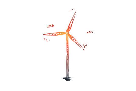 Wind, turbine, energy, power, alternative concept. Hand drawn isolated vector.