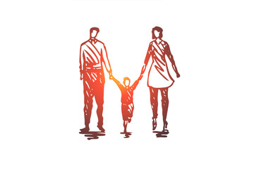 Family, father, child, woman, couple concept. Hand drawn isolated vector.