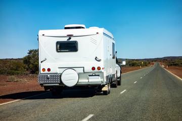 Printed kitchen splashbacks Khaki An off-road SUV car towing a caravan in Western Australia