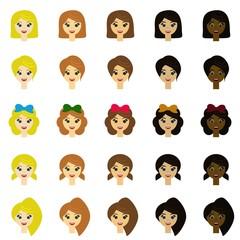 many girls head on white background