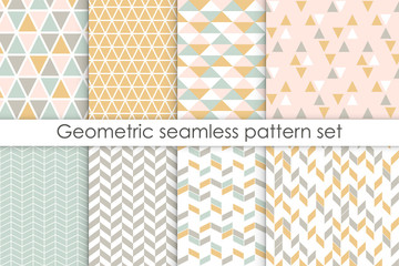 Set of abstract seamless patterns. Collection of simple geometric backgrounds with pastel colors. Vector illustration.