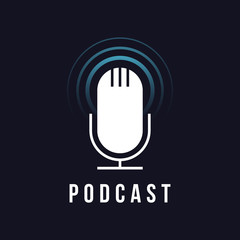 Table studio microphone icon. Broadcast sign. Podcast emblem. Vector Radio mic illustration
