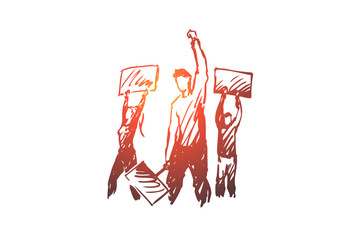 Demonstration, riots, rallies concept. Hand drawn sketch isolated illustration