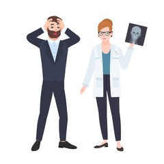 Grumpy female physician or radiologist demonstrating X-ray of skull to frightened male patient. Medical consultation and diagnostics at clinic. Colorful vector illustration in flat cartoon style.