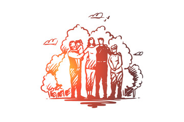 Family, togetherness, spending time with relatives concept. Hand drawn sketch isolated illustration