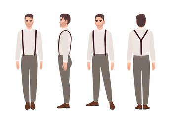 Wall Mural - Man wearing trousers with suspenders and shirt. Elegant outfit. Stylish male cartoon character isolated on white background. Front, side, back views. Colorful vector illustration in flat style.