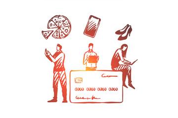 Online shopping, internet shop, card payment concept.