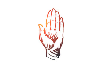 Touch, hand, finger, gesture, press concept. Hand drawn isolated vector.