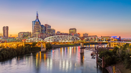 Nashville Skyline and John Seigenthaler Pedestrian Bridge at Dusk