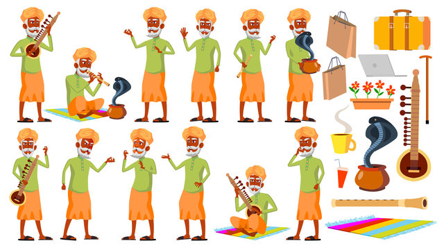 Indian Old Man Poses Set Vector. Hindu. Asian. Elderly People. Senior Person. Aged. Snake Cobra Dance. Presentation, Invitation, Card Design. Isolated Cartoon Illustration