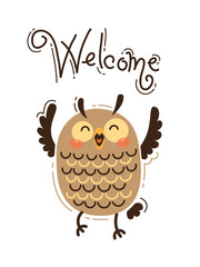 A happy owl greets Welcome. Vector illustration in cartoon style