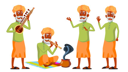 Indian Old Man Poses Set Vector. Hindu. Asian. Elderly People. Senior Person. Aged. Snake Cobra Dance. Advertisement, Greeting, Announcement Design. Isolated Cartoon Illustration