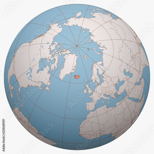 Iceland on the globe. Earth hemisphere centered at the location of ...